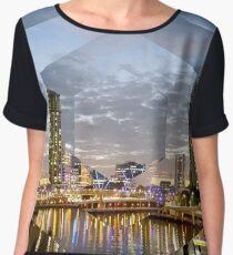 Beautiful Brisbane River Print - A Geometric Design Chiffon Top