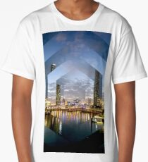 Beautiful Brisbane River Print - A Geometric Design Long T-Shirt
