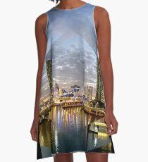 Beautiful Brisbane River Print - A Geometric Design A-Line Dress
