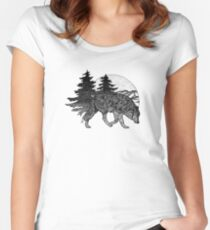 Wolf and Mountains (Black) Women's Fitted Scoop T-Shirt