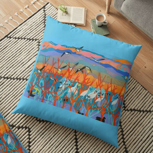Nine Leaves in the Wind Floor Pillow