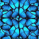 Blaue Schmetterlinge auf Schwarzem von Irisangel