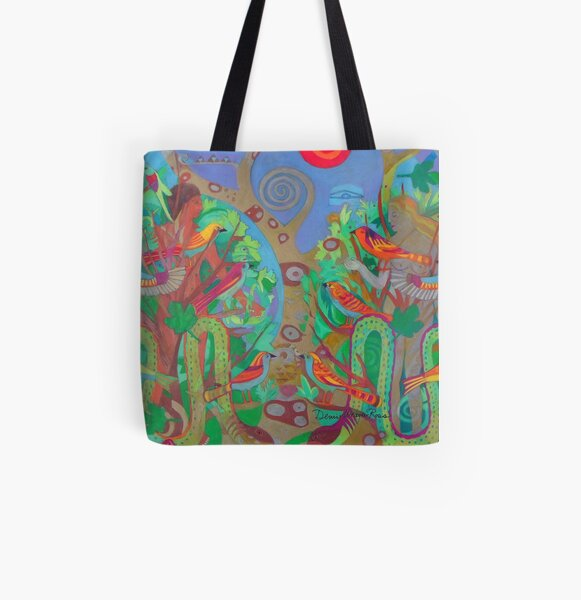 Two Trees and Fig Leaves in the Garden of Desire All Over Print Tote Bag