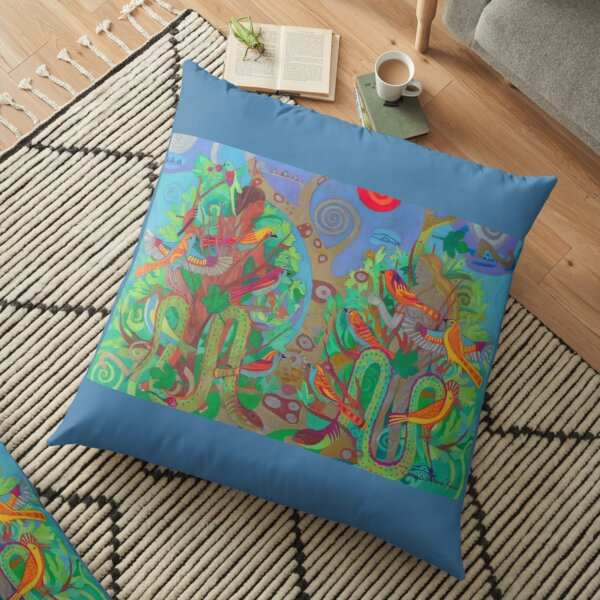 Two Trees and Fig Leaves in the Garden of Desire Floor Pillow