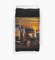 Sunset Peterbilt and Trailer Duvet Cover