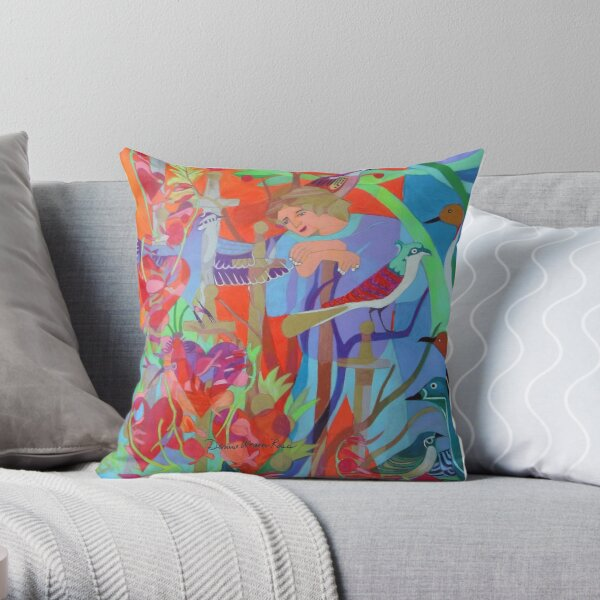 Seven of Flowering Hearts Throw Pillow