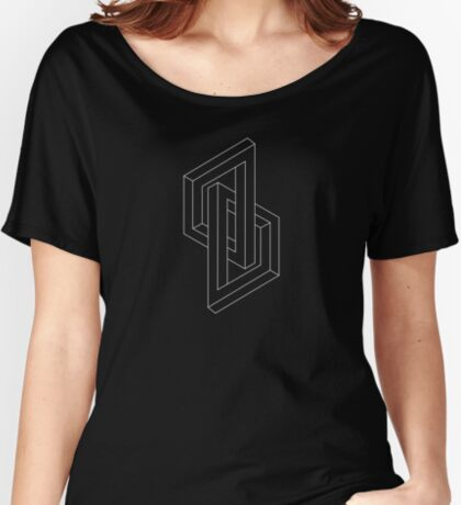 Optical illusion - Impossible Figure -  Balck & White Pattern Women's Relaxed Fit T-Shirt