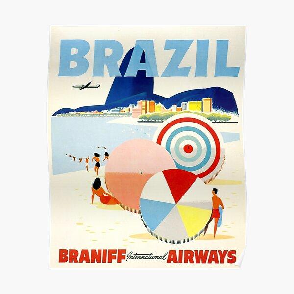 Cartel de viaje Vintage Brasil Póster