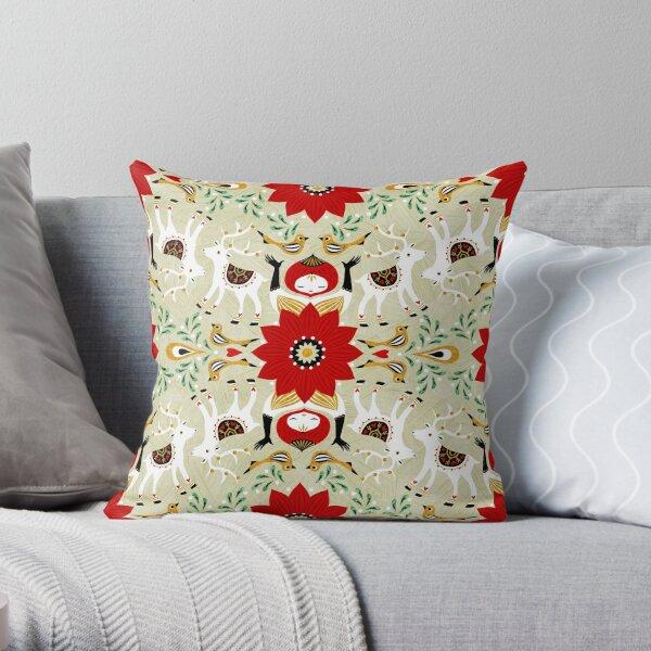 Sandy Folk Christmas Throw Pillow