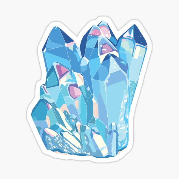 Blue Crystal Angel Aura Quartz Gemstone Sticker