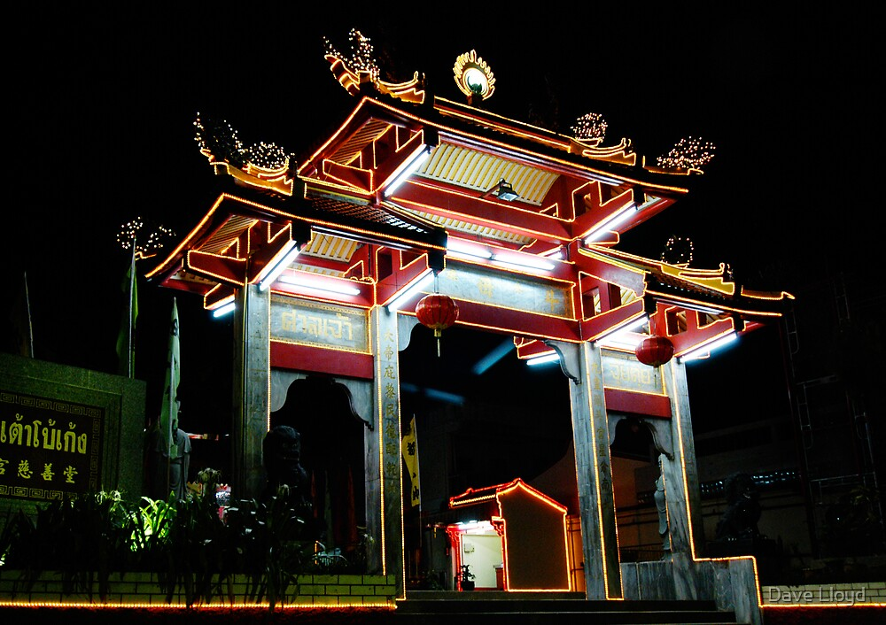 Chinese Temple - Night by Dave Lloyd