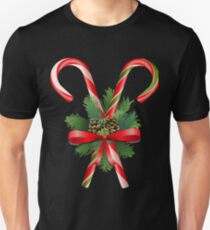 Traditional christmas candies with coniferous and holly decorations T-Shirt