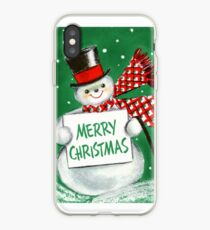 Weinlese-Weihnachtsschneemann iPhone-Hülle & Cover
