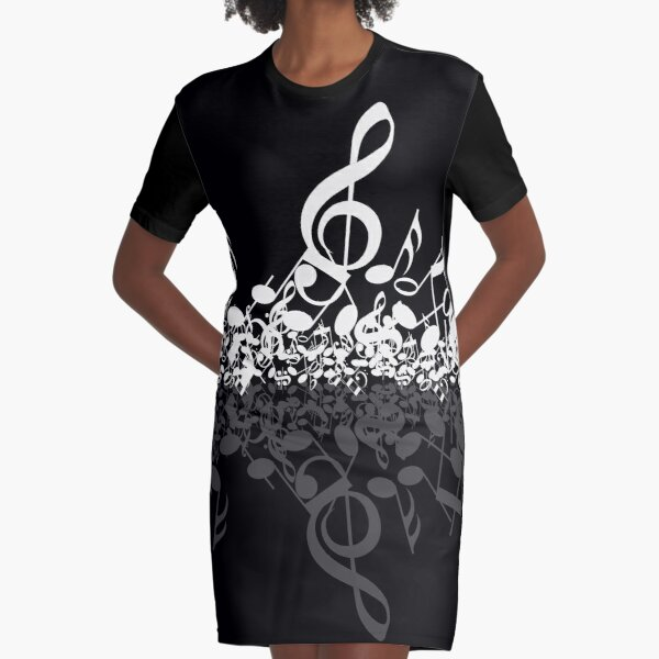 Musical Notes Graphic T-Shirt Dress