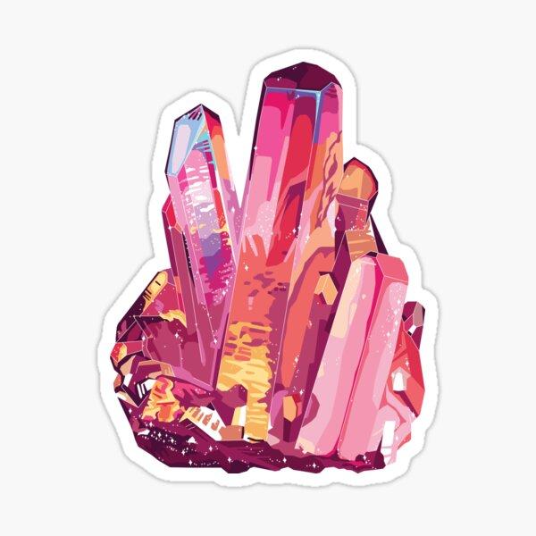Red Pink Crystal Quartz Gemstone Sticker