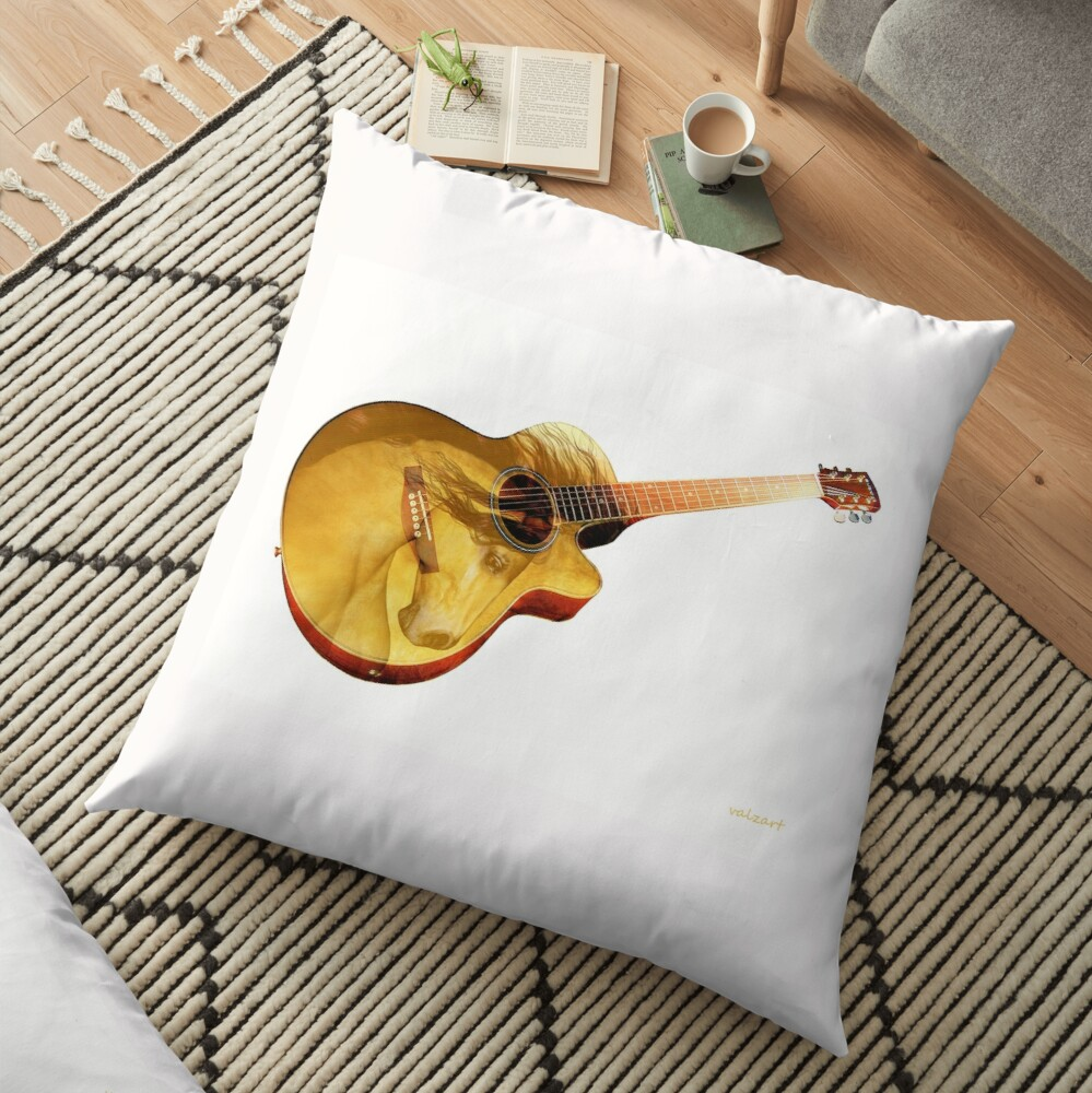 The guitar is a lady  Floor Pillow