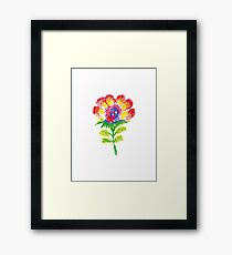 Oil pastel childlike stylized flower. Framed Print