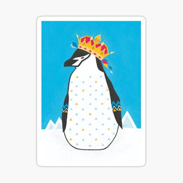 Penguin wearing crown, geometric pattern Sticker