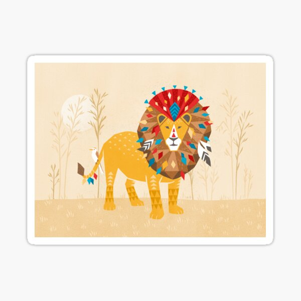 Lion with colorful mane and feathers Sticker