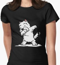 Funny Dabbing West Highland White Terrier Dog Women's Fitted T-Shirt