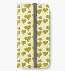 Antikes Moos gelbe Herzen iPhone Flip-Case/Hülle/Klebefolie