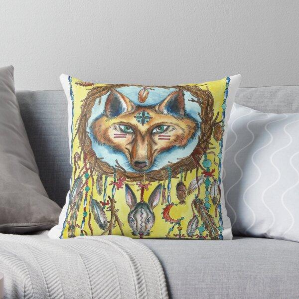Fox and Hare Dreamcatcher Throw Pillow