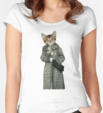 Kitten Dressed as Cat Women's Fitted Scoop T-Shirt