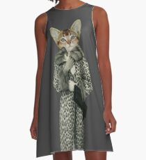 Kitten Dressed as Cat A-Line Dress