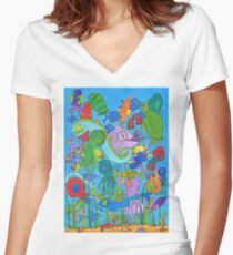 A Rather Crowded Ocean Women's Fitted V-Neck T-Shirt