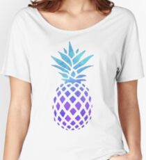 PINEAPPLE BLUE PURPLE WATERCOLOR Women's Relaxed Fit T-Shirt