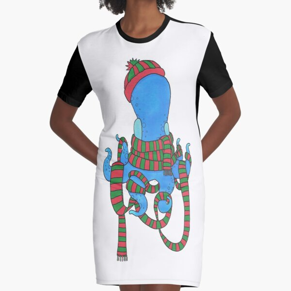 Too Much Scarf For One Octopus Graphic T-Shirt Dress