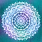 White Mandala on Teal, Purple and Navy by Kelly Dietrich