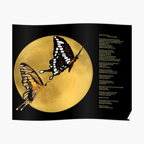Butterflies Across the Shadows of the Moon Poster