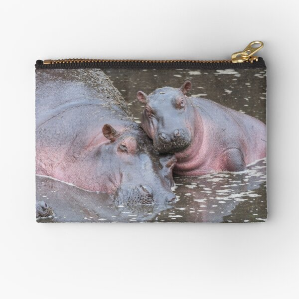 Baby Hippo with mother Zipper Pouch
