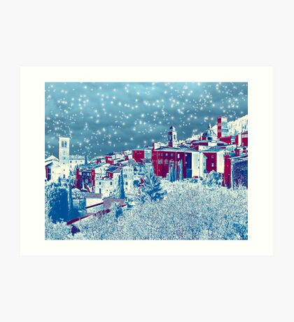 Winter in Assisi, Italy Art Print