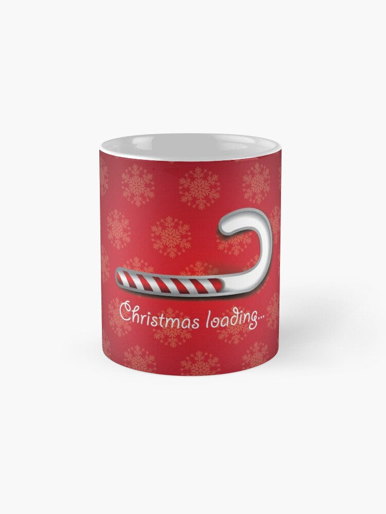 Alternate view of Christmas loading background with digital striped candy cane bar Mug