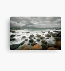 stormy stone beach Canvas Print