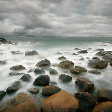 stormy stone beach by Hogne