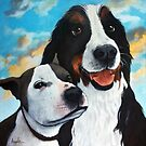 Friends - Bodhi and Lily dog portrait by LindaAppleArt