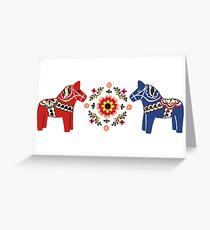Schwedische Weihnachten - Dala-Pferde Greeting Card