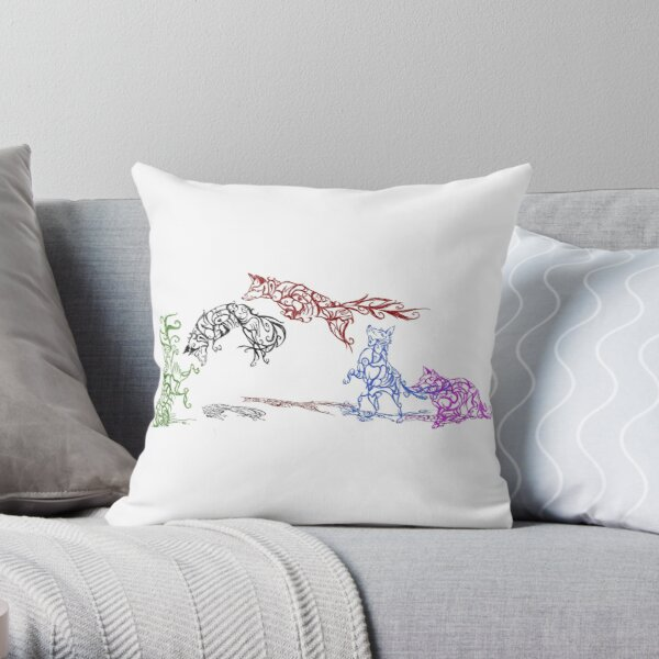 The Pounce (leaping foxes in the snow) Throw Pillow