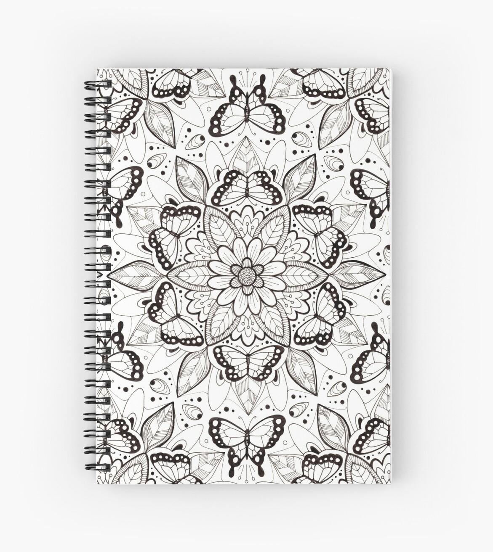 Butterfly Mandala Pattern - Black and White by Hazel Fisher