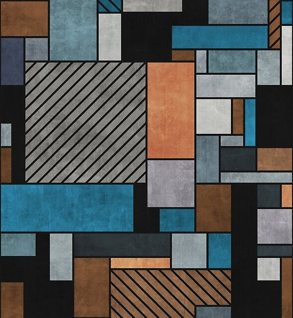 Colorful Random Pattern - Blue, Grey, Brown by Zoltan Ratko