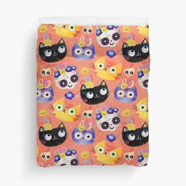 Cats and Skulls Duvet Cover