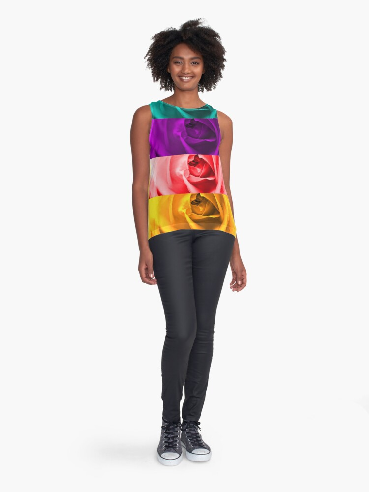 Alternate view of Colorful Roses Sleeveless Top