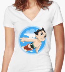 Camiseta entallada de cuello en V Astro Boy en vuelo