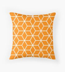 Orange Interlocked hexagon lattice Throw Pillow
