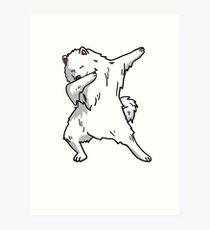Lustiger tupfender Samoyed-Hund Kunstdruck