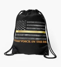 Dispatcher Gifts - Thin Gold Line - Thin Yellow Line - 911 Emergency Dispatchers Drawstring Bag
