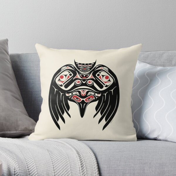 Raven Crow in a Pacific North West Style, Native American Style Throw Pillow
